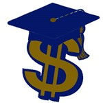 Clipart of dollar sign symbol with graduation cap