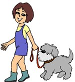 clipart of girl walking dog