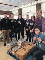 Group of young people helping at food pantry