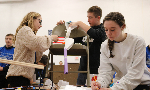 students build rube goldberg machine
