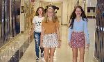 high school girls walking in hall