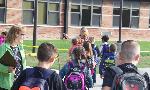 students head into school
