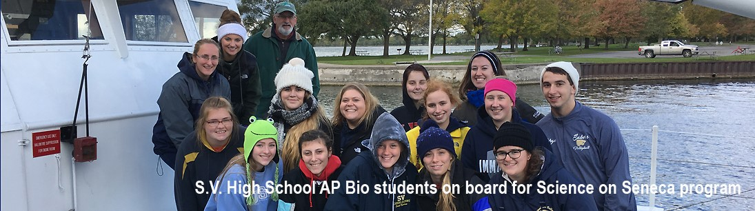 Group of high school students on boat for Science on Seneca program