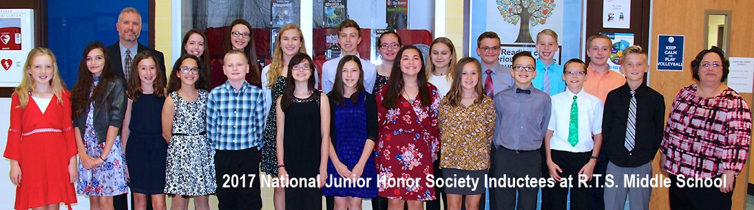 Group picture of honor society inductees at middle school