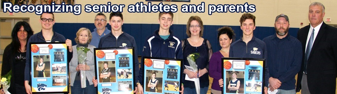Senior athletes and parents from boys basketball team