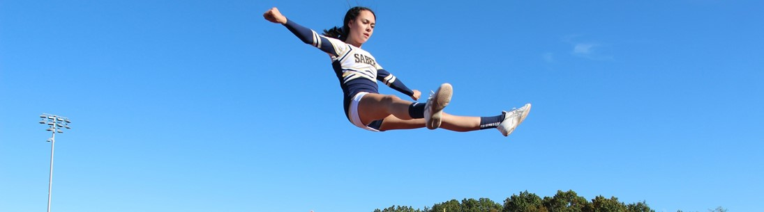 Cheerleader in mid air