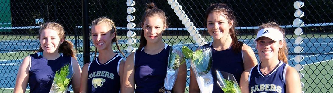five girls tennis seniors